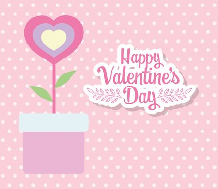 happy valentines day, potted flower shaped heart dots background