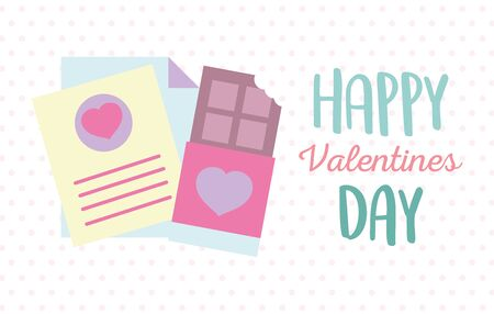 happy valentines day, sweet chocolate bar and papers message letter romantic Çizim