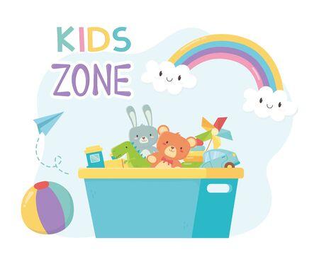 zona bambini, secchio pieno di plastica con contenitore per giocattoli Vettoriali