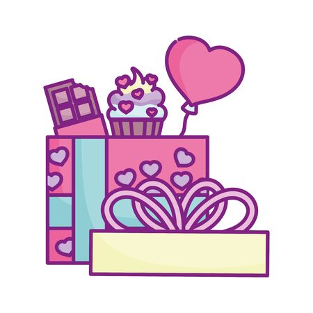 happy valentines day, gift box sweet cupcake chocolate bar hearts love Stock Illustratie