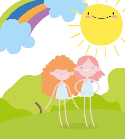 happy valentines day, cute little cupids in the field with rainbow sun cartoon Stock Illustratie