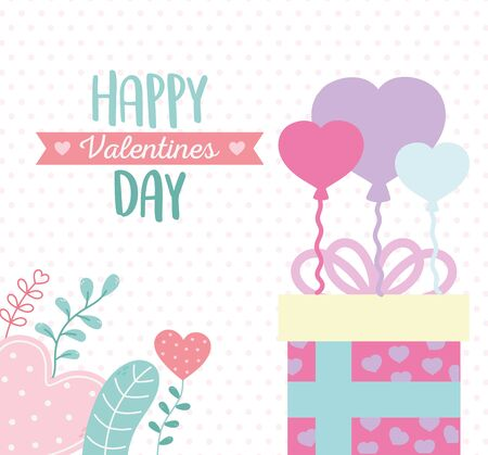 happy valentines day, gift box with balloons hearts leaves decoration Stock Illustratie