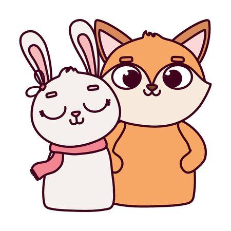 happy valentines day, cute animals fox and rabbit cartoon Stock Vector - 138044981