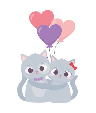 happy valentines day, cute couple cat hugging balloons hearts love cartoon