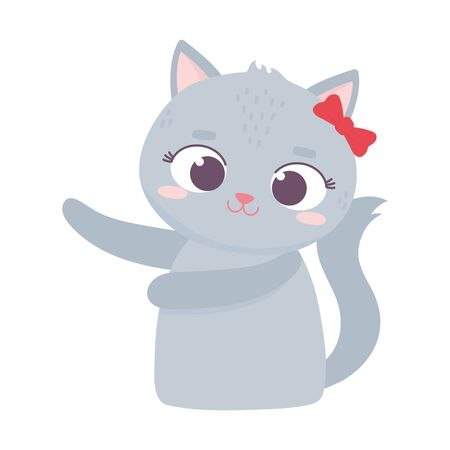 cute animal female cat with bow cartoon character