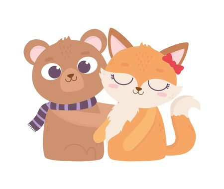 happy valentines day, cute animals bear and female fox cartoon Illustration