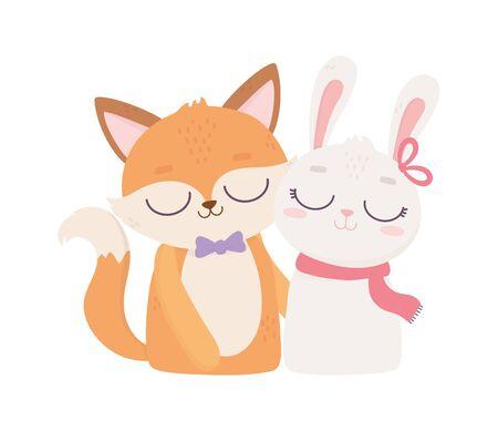 happy valentines day, cute animals fox and rabbit cartoon Stock Vector - 138045167