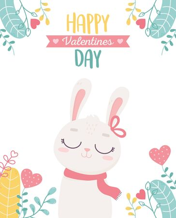 happy valentines day, cute bunny hearts love foliage card celebration vector illustration