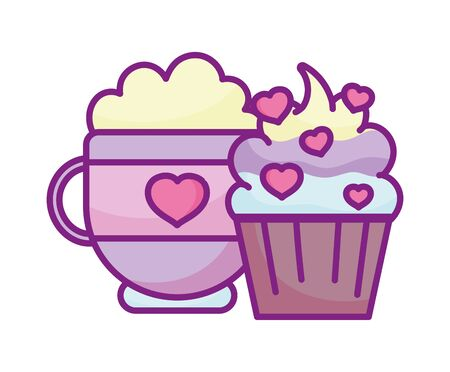 happy valentines day, coffee cup and sweet cupcake snack love hearts celebration vector illustration 向量圖像