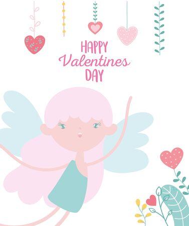 happy valentines day, cute cupid hanging hearts love romantic celebration vector illustration