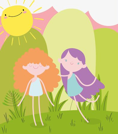 happy valentines day, smiling girl and cupid in the grass vector illustration Ilustrace