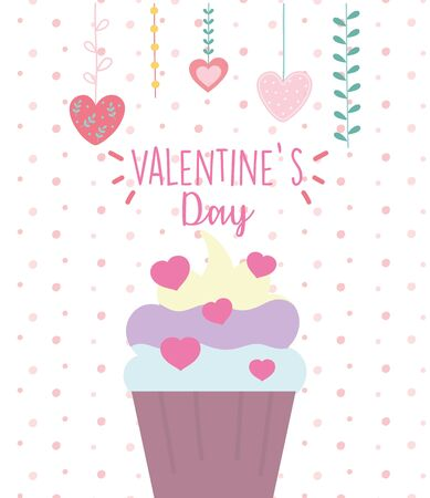 happy valentines day, sweet cupcake cream hearts love snack vector illustration
