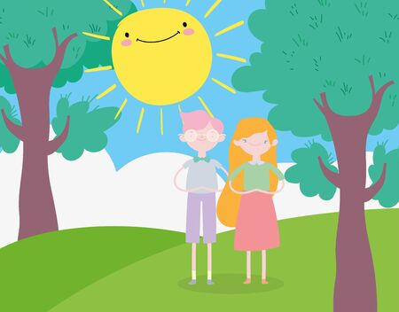 happy valentines day, smiling young couple in the landscape vector illustration Ilustrace