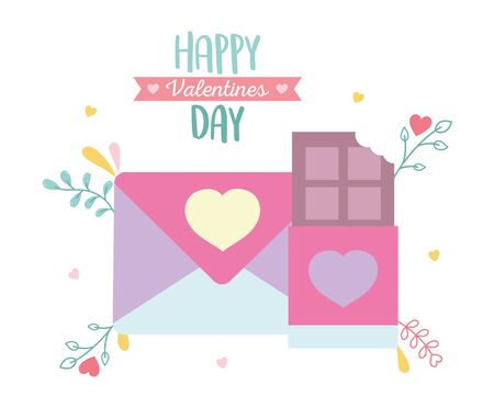 happy valentines day, envelope message chocolate bar foliage decoration celebration vector illustration