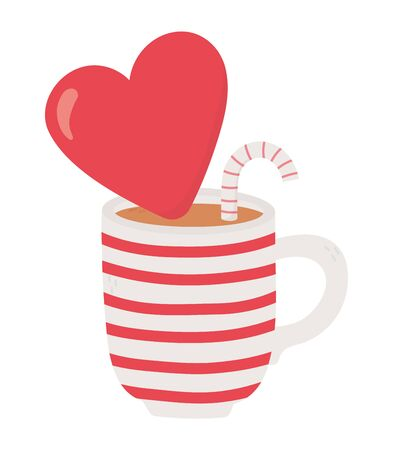 happy valentines day, cup chocolate with red heart and candy cane celebration vector illustration
