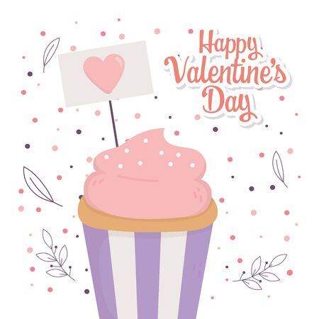 happy valentines day, sweet cupcake sign heart decoration floral celebration vector illustration