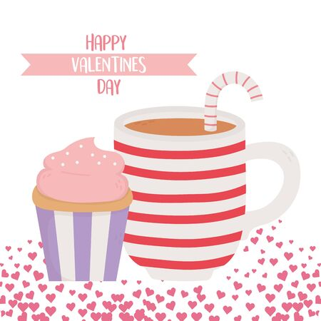 happy valentines day, sweet cupcake and cup chocolate candy cane and hearts decoration celebration vector illustration