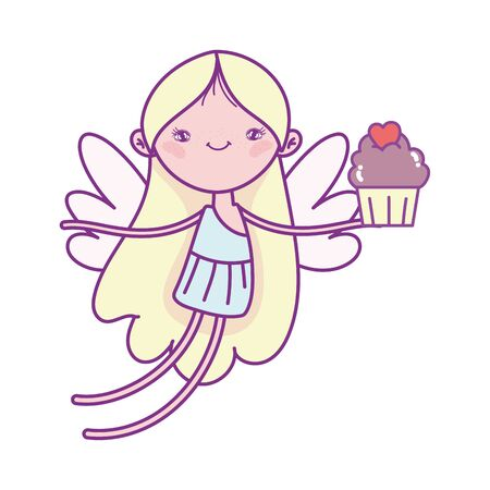 happy valentines day, cute cupid flying with cupcake celebration vector illustration 向量圖像