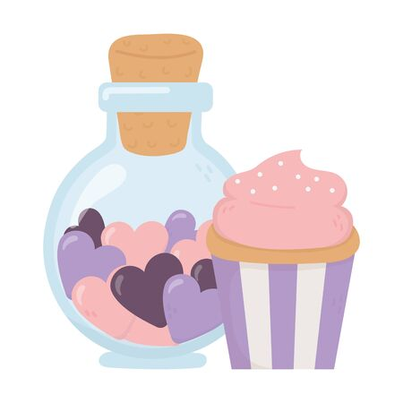 happy valentines day, jar bottle with hearts and sweet cupcake celebration vector illustration 向量圖像