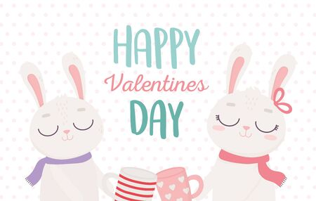 happy valentines day, cute couple bunnies with coffee cups celebration vector illustration Archivio Fotografico - 138046593