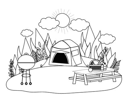 Tent design, Camping forest adventure lifestyle summer travel and outdoor theme Vector illustration Illustration