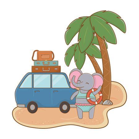 cute animal elephant enjoying summer time vacations holidays cartoon vector illustration graphic design Illustration