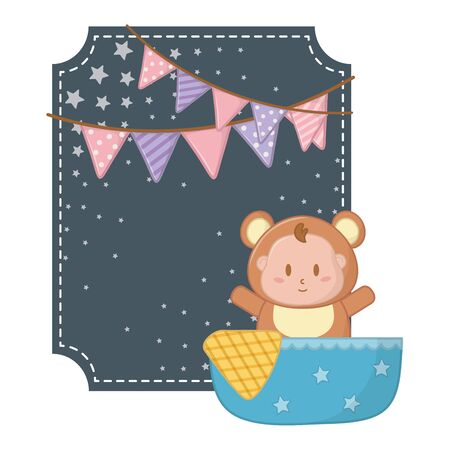 square frame with bear costume vector illustration