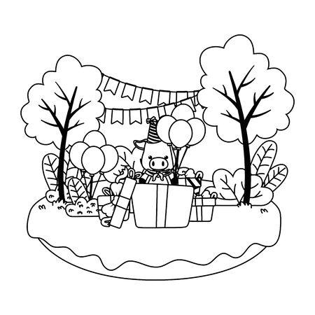 Pig cartoon with happy birthday icon design