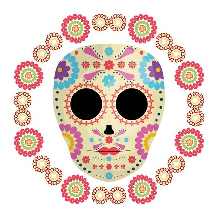 mexican skull death mask with flowers