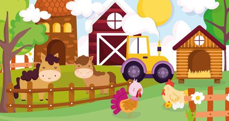 caballos gallina pollo pavo tractor granero casa valla animales de granja