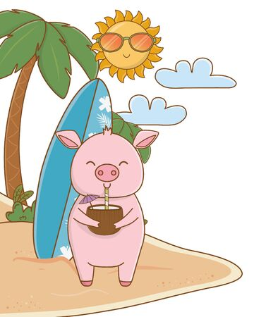cute animal enjoying summer time cartoon