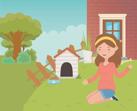 House for mascot and girl cartoon design