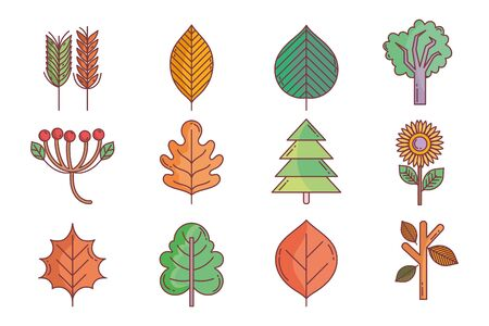 hello autumn design icons collection Ilustrace