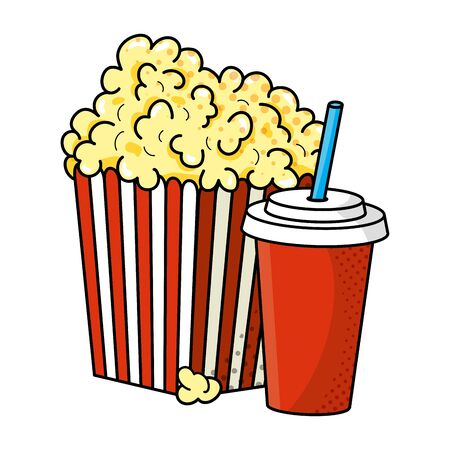 pop corn and soda vector illustration