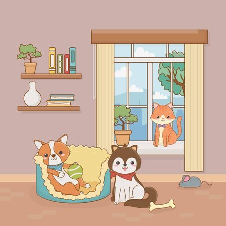 little dog and cat mascots in the house room Illustration