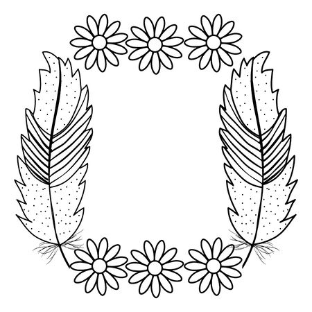 bohemian frame with feathers and flowers