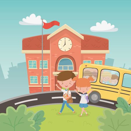 school building and bus with kids in the landscape scene