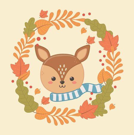 cute animal autumn season flat design Vector Illustratie