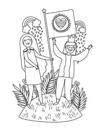 Women supporting lgtbi march design vector illustration