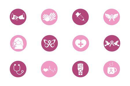 breast cancer awareness block icons set Ilustracja