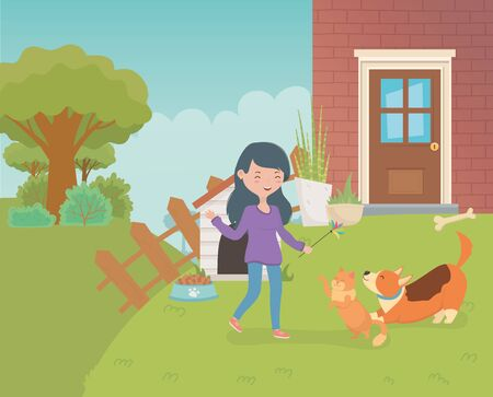 woman with cute little cat and dog in the house garden Illustration