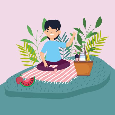 young man sitting blanket with basket food picnic in the park vector illustration Ilustrace