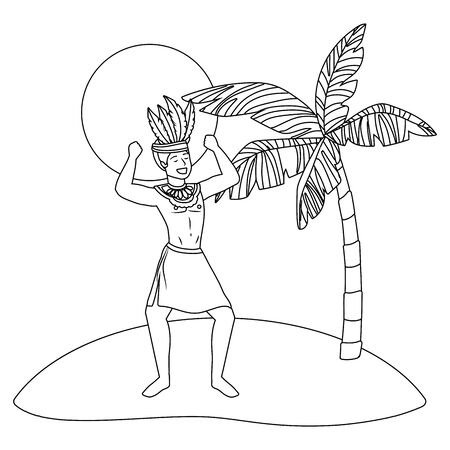 native man with arms up celebrating brazil carnival on beach with palm and sun vector illustration editable Vetores