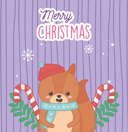 cute bear with hat candy canes leaves merry christmas