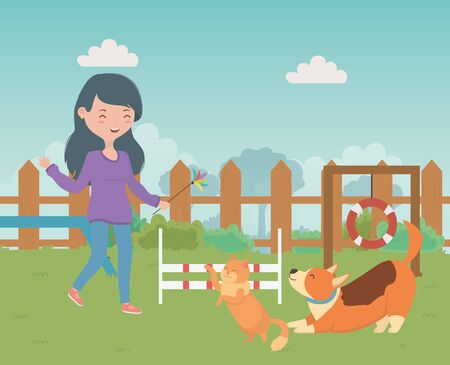 Girl with cat and dog cartoon design, Mascot pet animal domestic cute life nature and fauna theme Vector illustration Illustration