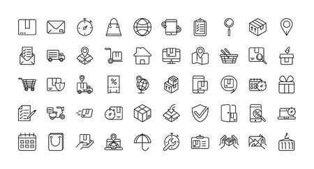 service logistic transport delivery icons thick line Ilustracja