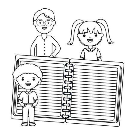 cute little students couple with male teacher and notebook Ilustracja