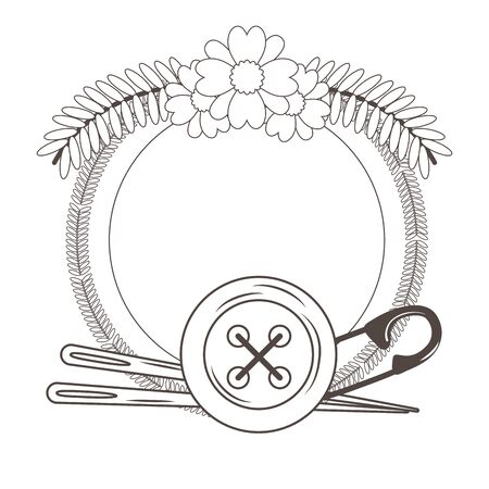 Button needle and pin of tailor shop design
