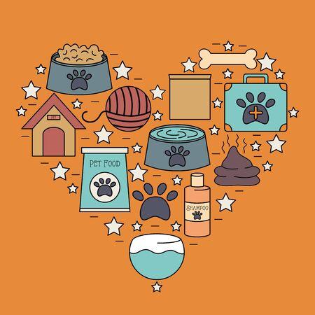 set of mascot care shop icons