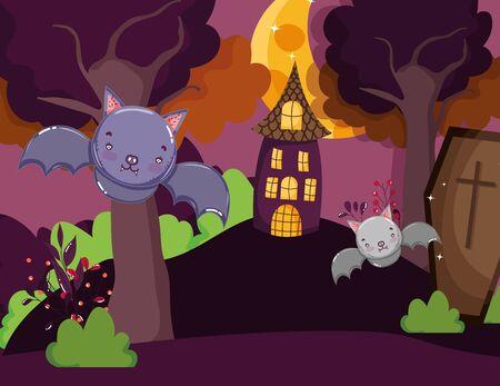 bats coffin house in the hill halloween Иллюстрация